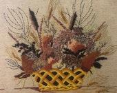 Framed Vintage 1970s Floral Crewel Work, Mary Wancheck Crewel Work