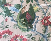 Vintage 1950s A. H. Lee & Sons Birds Fabric Sample, Vintage 1950s Birds Fabric, Vintage Floral Fabric Sample