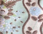 Vintage 1960s Kent Bragaline Floral Fabric Sample, Vintage Cotton Floral Fabric Sample
