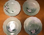 Rare Antique 1890s Jean Pouyat Limoges France Scalloped Edge Green Pansy Dessert Plates