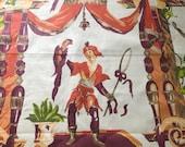 Vintage 1980 Brunschwig & Fils Commedia Dell' Arte Fabric Sample, Vintage Commedia Dell' Arte Fabric, Chinoiserie Fabric