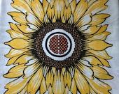 Vintage 1970s Sunflower Tablecloth, Vintage Sunflower Tablecloth, Sunflower Tablecloth, Scandinavian Tablecloth