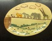 Vintage Redware Noah's Ark Platter