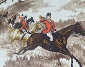 Vintage 1940s Equestrian Barkcloth Fabric, Vintage 1940s Equestrian Barkcloth, Vintage Fox Hunt fabric, horse fabric, horse and hound fabric