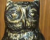 Vintage Brass Owl Bookend