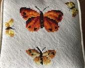 Vintage 1970s Needlepoint Butterflies Pillow, Vintage Needlepoint, Vintage Pillow