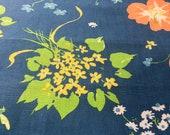 Vintage 1980 Kent Bragaline Floral Fabric Sample, Vintage Cotton Floral Fabric Sample