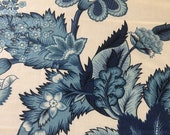 Vintage 1980s Duralee China Blue Floral Fabric Sample, Vintage Duralee Fabric, Vintage Chinoiserie Chintz Fabric Sample