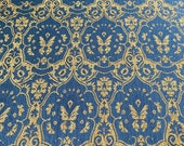 Vintage 1980s Reversible Chenille Damask Upholstery Fabric, Blue and Brown Chenille Upholstery Fabric