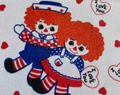 Vintage 1970s Raggedy Ann and Andy Fabric, Vintage Raggedy Ann Fabric, Pink and White Fabric, Kids' Fabric, Graphic Juvenile Fabric