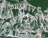 """Vintage 1960s Schumacher """"World Wide Toile"""" Fabric Sample, Vintage Schumacher World Wide Toile Fabric, Ship Fabric, Chinoiserie Fabric"""