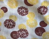 Vintage 1940s Feedsack Cloth Yellow and Burnt Sienna