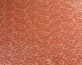Vintage 1960s Jack Valentine Burnt Orange Embroidered Fabric Sample, Burnt Orange Embroidered Fabric