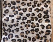 Vintage Leopard Print Leather Hair on Hide Trim, Vintage Trim, Leopard Print, Leopard, Leather Trim, Leather Accent Trim, Hair On Hide Trim