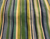 Vintage 1960s Green Striped Cotton Canvas Duck, Vintage Green Fabric
