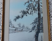 Japanese Print / Framed Japanese Palace Print / Former Imperial Palace in Kyoto