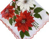 Vintage 1960s Poinsettia Handkerchief, 1960s Christmas Handkerchief, Poinsettia Handkerchief, Vintage Handkerchief