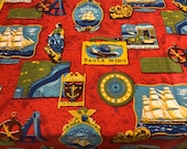 Vintage 1970 Kitsch Nautical Fabric, Vintage Nautical Fabric, Vintage Nautical Curtain
