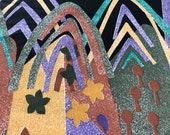 Vintage 1990s Novelty Church Fabric, Vintage 1990s African Fabric, Vintage 1990s African Fabric, Religious Fabric