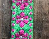Vintage Green and Pink Trim, Vintage Sewing Trim, Preppy Trim, Flower Power Trim, 1970s Trim