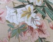 Vintage 1980s Duralee Lilies Fabric Sample, Vintage Duralee Fabric, Vintage Floral Fabric Sample