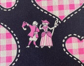Vintage 1950s Colonial People and Hearts Fabric, Vintage Colonial People and Hearts Fabric, Pink and Black Fabric, Heart Fabric