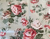 "Vintage 1985 Bassett McNab ""Milford"" Fabric Sample, Milford Fabric Sample, Cabbage Roses Fabric, Vintage Cabbage Rose Fabric, Vintage Fabric"
