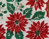 Vintage 1940s Poinsettia Handkerchief, 1940s Christmas Handkerchief, Poinsettia Handkerchief, Vintage Handkerchief