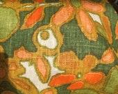 Vintage 1960s David and Dash Linen Fabric Sample, Vintage 1960s David and Dash Floral Fabric, Vintage Linen Fabric Sample, Vintage Fabric