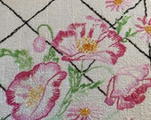 Tablecloth, Floral Embroidered Tablecloth, Cottage Chic Vintage Tablecloth, Granny Chic Small Tablecloth, Shabby Chic Tablecloth