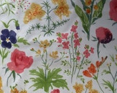 Vintage 1979 Bailey & Griffin Floral Fabric Sample, Bailey and Griffin Flowers In Watercolor Fabric Sample, Vintage Fabric Sample