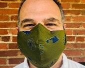 Vintage Revolutionary War Fabric Olsen Mask, Revolutionary War Olsen Mask, Military Mask, Military Olsen Mask, Men's Mask