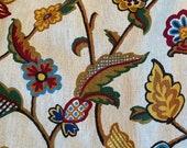 Vintage 1970s Jacobean Floral Café Curtains, 1970s Indienne Café Curtain Panels, 1970s Café Curtains, Granny Chic Curtains