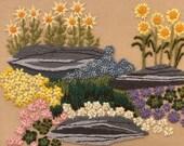 Framed Vintage Floral Crewel Work, Mary Wancheck Crewel Work