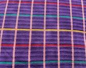 Vintage 1980s Cotton Stretch Purple Plaid Sweatshirt Type Fabric, 1980s Sweatshirt Fabric, Vintage Burst Fabric