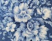 Vintage 1990s 5th Avenue Designs Sky Blue Floral Linen Fabric, Vintage 1990s Sky Blue Floral Linen Fabric,