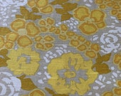 Vintage 1960s Franciscan Fabrics Yellow Floral Linen Fabric Sample, Vintage Yellow Floral Fabric Sample, Vintage Franciscan Fabrics