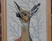 Framed Deer Crewel Work / Deer Needlework / Deer Art / Woodlands Art