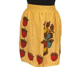 Vintage 1970s Strawberries and Lemons Apron, 1970s Strawberries Apron, Strawberry Apron, 1970s Fruit Apron, Vintage Apron