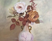 Vintage 1990s Rose Painting, Roses Painting, Still Life Painting, Dealy Baker Painting