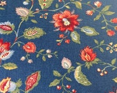 "Vintage 1980s Waverly ""Longford"" Fabric BTY, 1980s Waverly Longford Fabric, 18th Century Style Floral Fabric, Colonial American Fabric"