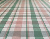 Vintage 1980s Pink and Green Plaid Matka Silk/Linen, Three Yards of Pink and Green Matka Fabric, Preppy Upholstery Fabric