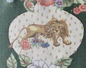 "Vintage  1998 Brunschwig and Fils Vintage Green ""Peaceable Kingdom"" Upholstery Fabric, Vintage Lion Fabric"