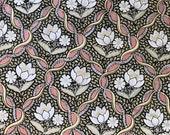Vintage 1970 Scalamandré Waterlilies Fabric Sample, Vintage Scalamandré Fabric, Vintage Fabric Sample
