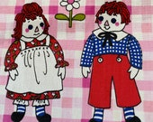 Vintage 1960s Raggedy Ann and Andy Fabric, Vintage Raggedy Ann Fabric, Pink and White Fabric, Kids' Fabric, Graphic Juvenile Fabric