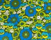 Flower Power Fabric, Vintage Flower Power Tablecloth, Flower Power Fabric