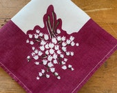 Vintage 1930s Lily of the Valley Handkerchief, 1930s Lily of the Valley Handkerchief, Lily of the Valley Handkerchief, 1930s Handkerchief