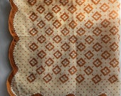 Vintage 1950s Brown Blockprint Handkerchief