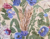 "Vintage 1986 Bailey & Griffin ""Harvest Flowers"" Fabric Sample, Vintage Harvest Flowers Fabric, Vintage Morning Glory Fabric, Vintage Fabric"