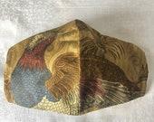 Duralee Pheasant Fabric Olsen Mask, Duralee Pheasant Mask, Men's Mask, Large Olsen Mask, Bird Mask, Stylish Mask